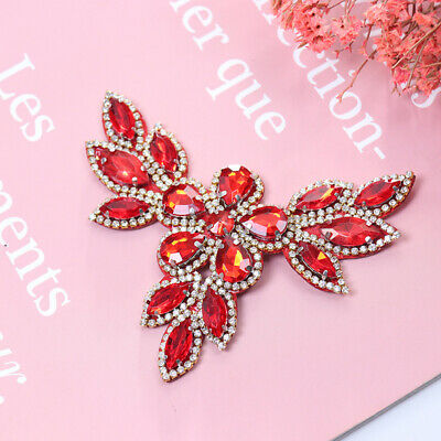 Rhinestone Red Shoe Applique Flatback Sew On Shoes Patch Badge Decor-PN