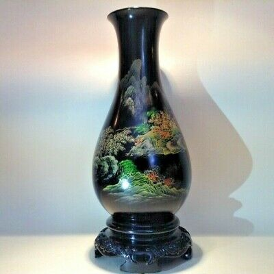 Antique PAINTED LACQUER VASE Japan 19th  20th century chinoiserie