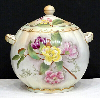 Antique CARLTON WARE Vintage HAND PAINTED FLORAL Biscuit COOKIE JAR / EARLY MARK
