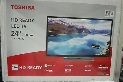 Toshiba 24WL3A63DB 24-Inch HD Ready Smart TV with Freeview Play -...