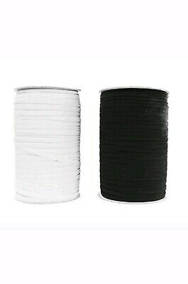 """6""""mm 8 Cord  Flat Woven Sewing Elastic Craft Dressmaking Cuffs  Black Or White"""