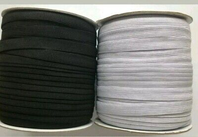 Black/ White Flat Elastic Braided Cord Various Width & Lengths Sewing Crafts