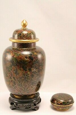 Vintage Chinese Cloisonne Lidded Urn w/ wood stand and Pill Box