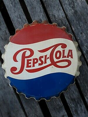 Original Pepsi Bottle Cap Sign, Stout Sign Company, Soda Sign