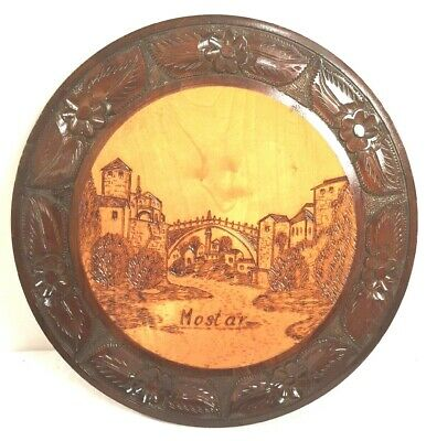 Vintage Hand Carved Wooden Wall Plaque Mostar Antique