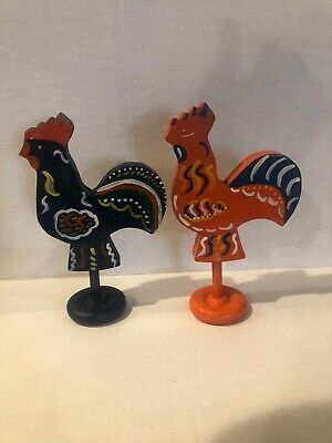 "Rooster Wood SWEDISH Style Hand Painted Carved 8""  Excellent Condition"