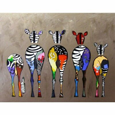 Abstract Zebra Deer Cartoon Style Paint By Numbers Paint Included Canvas Art