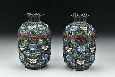 Chinese Qing Dynasty Cloisonne Covered Jars Containers w/ Relief Enamel Flowers