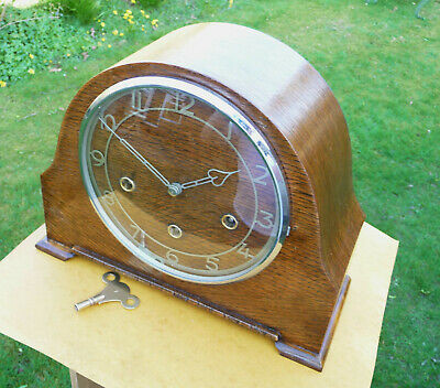 Vintage restored 1940s Smiths Enfield . Westminster chime mantle clock with key.