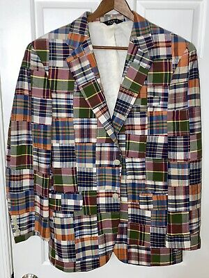 JOS. A BANK indian madras plaid cotton sportscoat blazer jacket 40R 40