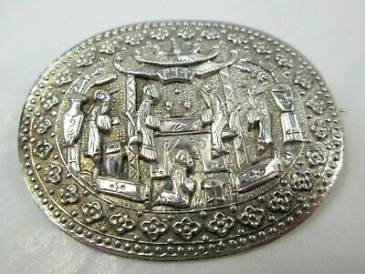 Fine Antique Victorian Sterling Silver Chinese Brooch Pin Hallmarked