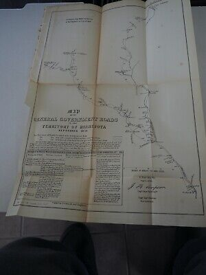 """Antique Map """"Map of the General Government Roads in the Territory of Minnesota"""""""