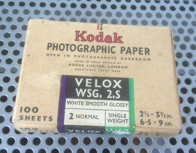 Vintage Early KODAK PHOTOGRAPHIC PAPER VELOX WSG 2S WHITE SMOOTH GLOSSY SW