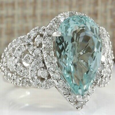 925 Silver Marquise Cut Aquamarine Wedding Band Rings Christmas Gift Size 6-10
