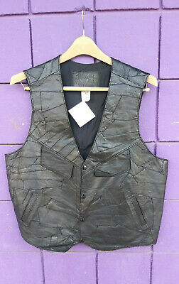 Fantastic Black Vintage Genuine Leather Vest Men's size 42 Creaciones ALEX RARE