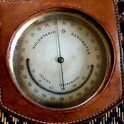 Antique Holosteric Barometer & Celsius Thermometer original leather case & strap