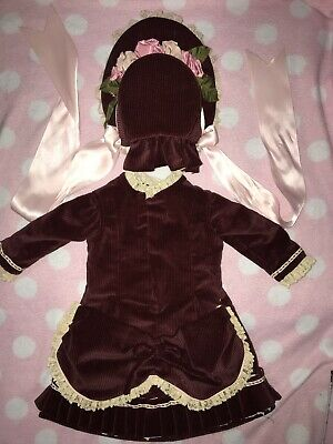 """Thick Velvet French Fashion dress for antique bisque German doll 24- 28"""""""