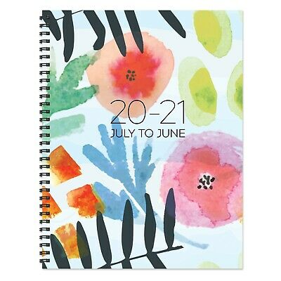 July 2020 - June 2021 Modern Blossoms Large Daily Weekly Monthly Spiral Planner