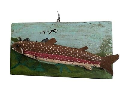 Carved Wood Trout Diorama Plaque Albert Holt Maine Antique Folk Art AFFA ca 1930