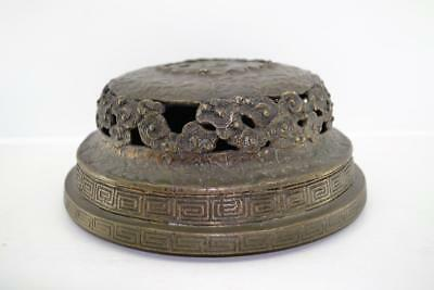 Antique Chinese Bronze Figure Vessel base Qing period Calligraphy signed