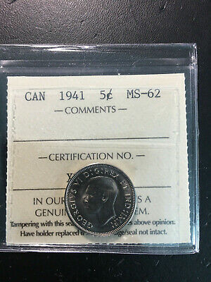 1941 Canada 5 Cent Coin - ICCS MS-62