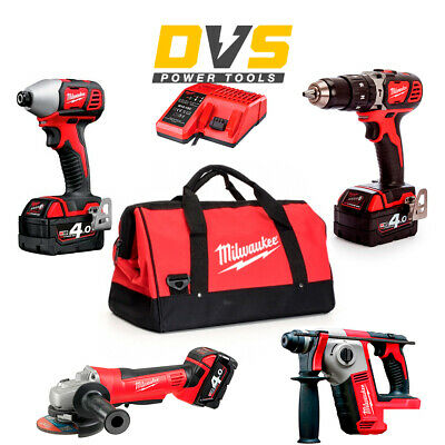 Milwaukee M18 18V 4 Pieces Cordless Kit M18BID-0 M18BPD-0 Batteries Charger