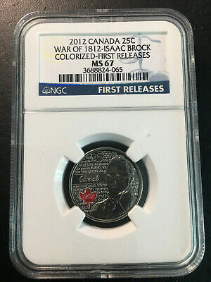 2012 Canada 'Isaac Brock' 25 Cent Coin - NGC MS-67 First Releases - Rare!!