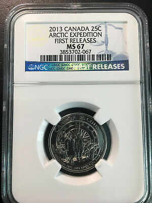 2013 Canada 'Arctic Expedition' 25 Cent Coin - NGC MS-67 First Releases - Rare!!