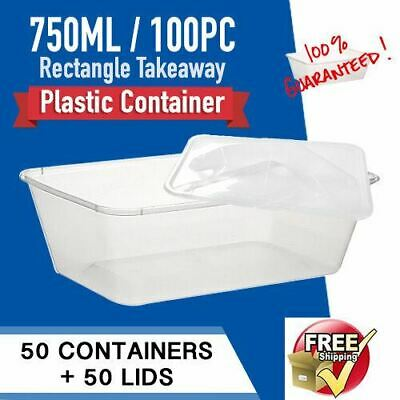 Disposable Food Container 750ml 100pc CONTAINERS+LIDS Fastfood Plastic Container