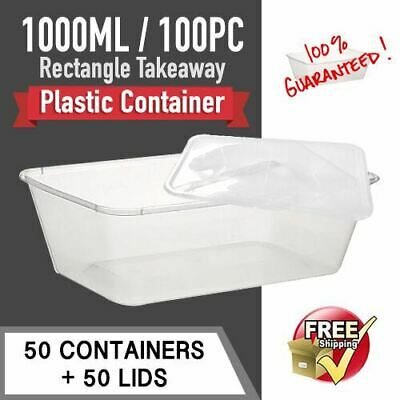 Takeaway Containers 50 Pc & Lids 50 Pc 1000Ml Disposable Plastic Food Container