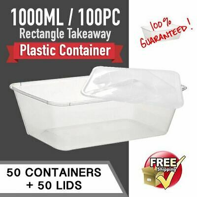 Disposable Food Container 1000ml 100pc CONTAINERS+LID Fastfood Plastic Container