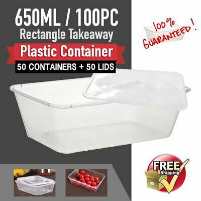 Takeaway Food Container 650ml 100pc CONTAINERS+LIDS Fastfood Plastic Containers