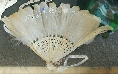Antique Ladies' Edwardian/Victorian Hand-Painted White Feather & Celluloid Fan
