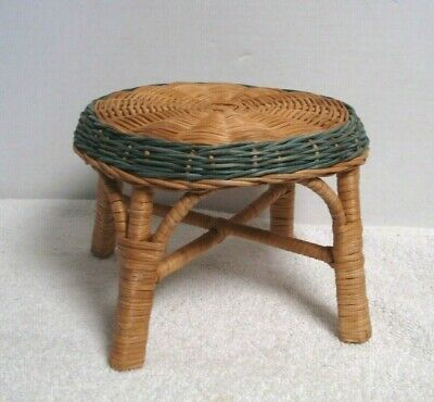 "Vtg Wicker rattan Miniature Stool Side Table Doll bear Salesman Sample 5"" t x 7"""