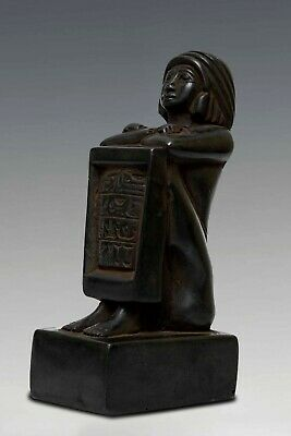 Rare ANCIENT EGYPT EGYPTIAN ANTIQUES Block Statue of Pe-Kher-Kons Stone BC