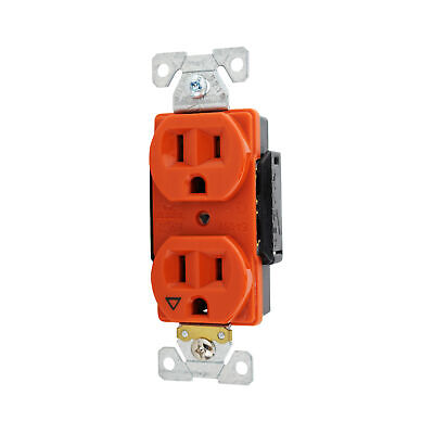 Cooper Ig5262Rn Duplex Receptacle, Isolated Ground, 5-15R, 15A, 125V, Orange