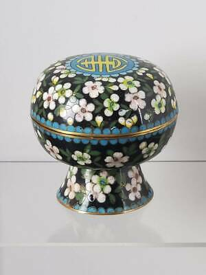 Antique Chinese Cloisonne Box Longevity Pedestal Footed W/ Cherry Blossoms
