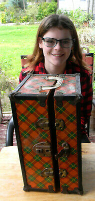 Vintage Red Plaid Cass Toys Metal Trim 1950s Doll Trunk Carrying Case Wardrobe