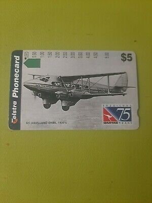 $5 1Hole Phonecard Qantas De Havilland 1930, Prefix 980