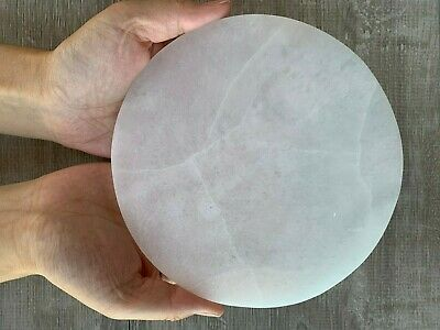 """Polished Selenite Circle Charging Plate for Crystal Cleansing, Size 3"""",6"""""""