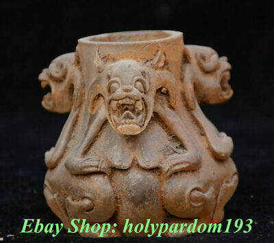 """4"""" Collect Old Chinese Crystal Dynasty Palace 3 Beast Pot Jar Crock"""