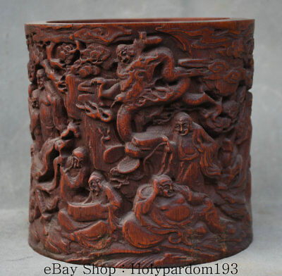 15CM Old Chinese Bamboo Root Dynasty 18 arhat Luohan Monk Brush Pot Pencil Vase