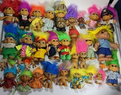 Vintage Russ and ACE Novelty TROLL DOLLS 30+ LOT Various Sizes and Outfits