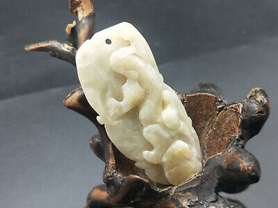 100% Chinese exquisite hand engravi Natural A jadeite The beast Pendant