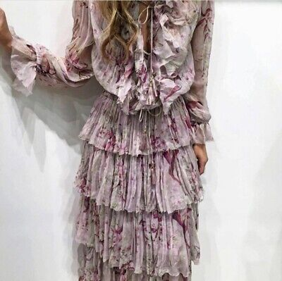 Zimmermann Winsome Ruffle Top And Tiered Skirt Set In Mink Sunburnt Floral