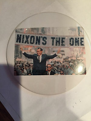 "LG 3 Inch ""Nixon's The One""  Nice Photo in Parade Richard Nixon  Button Pinback"