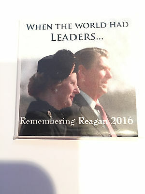 """When The World Had Leaders"" Ronald Reagan and Margaret Thatcher button pin"