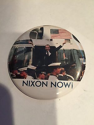 NEW Nixon Now Button Pinback on Helecopter (not vintage - Memory Pin)