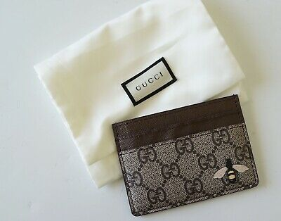 gucci 'supreme bee' brown leather card holder…vgc...