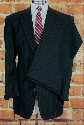 BROOKS BROTHERS Suit, 48L, Gray Striped, Pants 42 x 29, Pleated, Cuffed